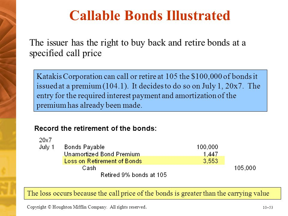 10–53 Copyright © Houghton Mifflin Company. All rights reserved. Record the retirement of the bonds: Katakis Corporation can call or retire at 105 the