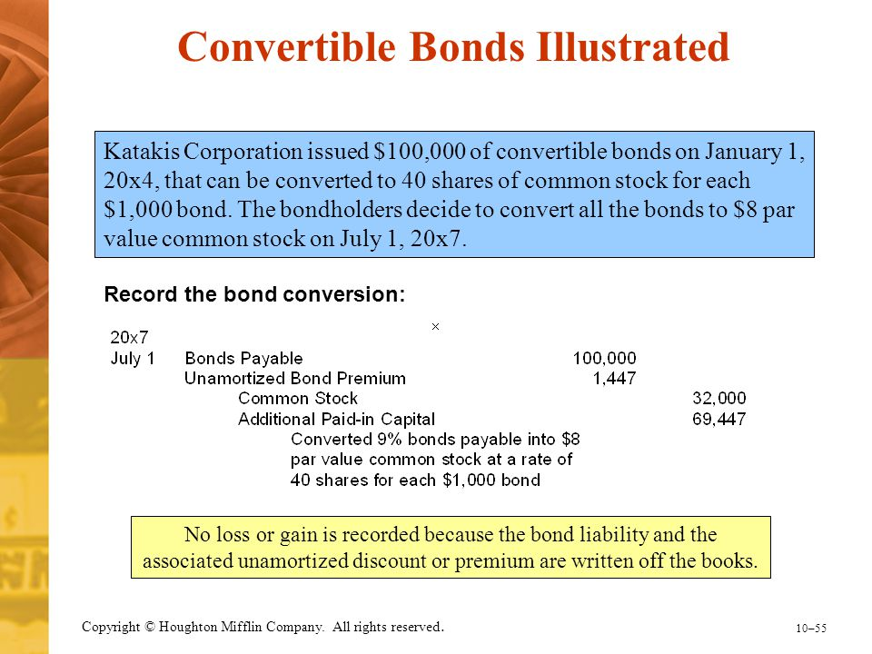 10–55 Copyright © Houghton Mifflin Company. All rights reserved. Katakis Corporation issued $100,000 of convertible bonds on January 1, 20x4, that can
