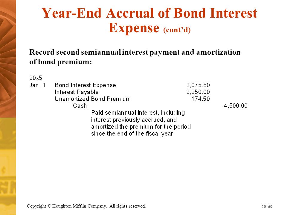 10–60 Copyright © Houghton Mifflin Company. All rights reserved. Record second semiannual interest payment and amortization of bond premium: Year-End