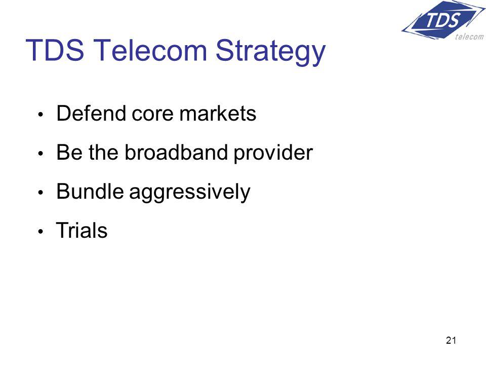 21 Defend core markets Be the broadband provider Bundle aggressively Trials TDS Telecom Strategy