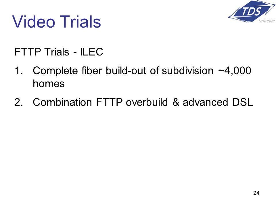 24 Video Trials FTTP Trials - ILEC 1.Complete fiber build-out of subdivision ~4,000 homes 2.Combination FTTP overbuild & advanced DSL