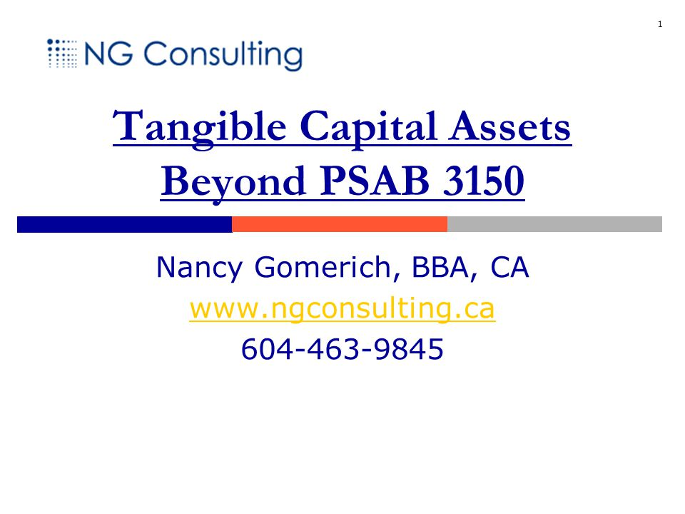 1 Tangible Capital Assets Beyond PSAB 3150 Nancy Gomerich, BBA, CA www.ngconsulting.ca 604-463-9845