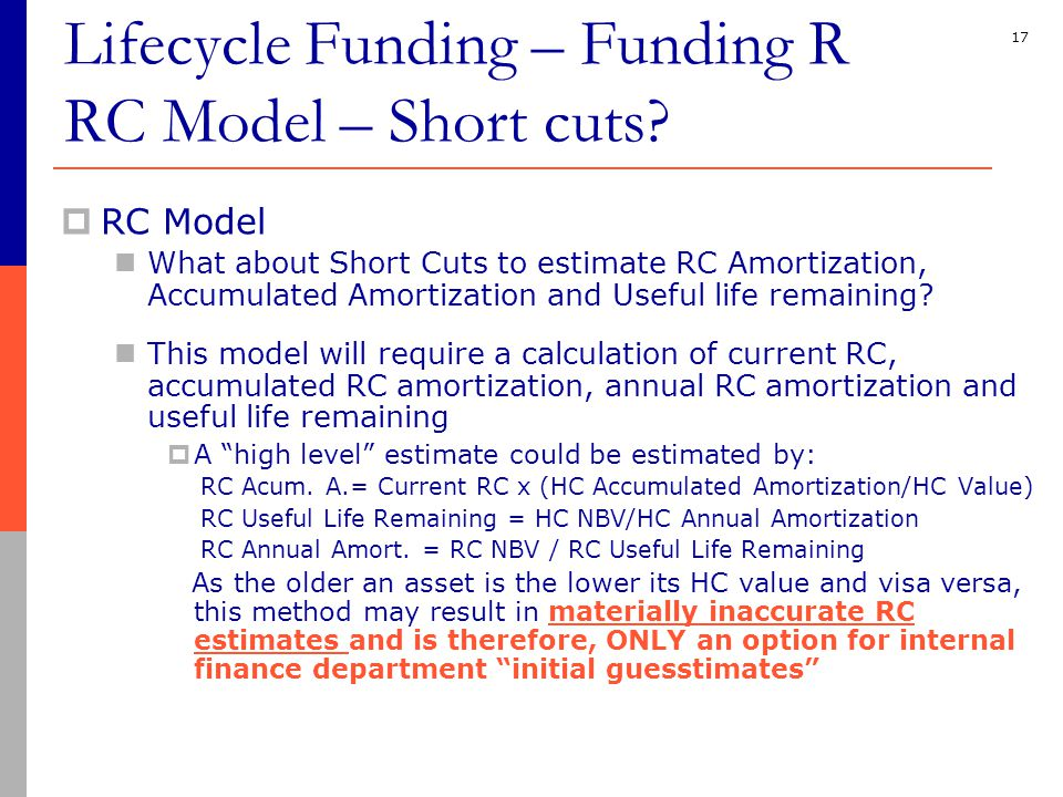 17  RC Model What about Short Cuts to estimate RC Amortization, Accumulated Amortization and Useful life remaining.