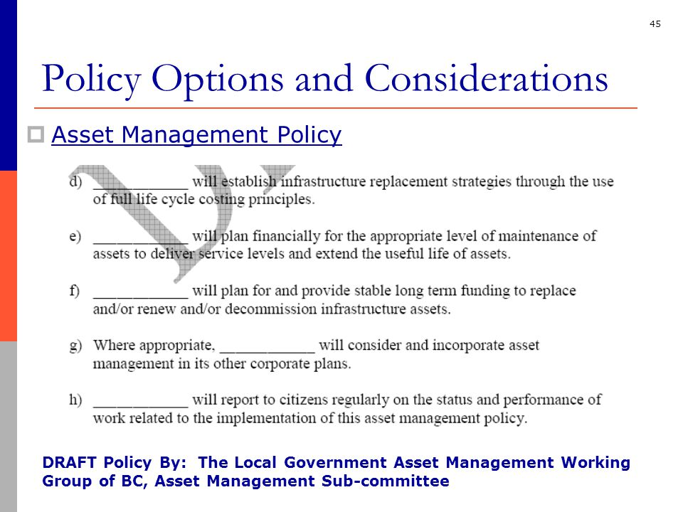 45  Asset Management Policy DRAFT Policy By: The Local Government Asset Management Working Group of BC, Asset Management Sub-committee Policy Options and Considerations