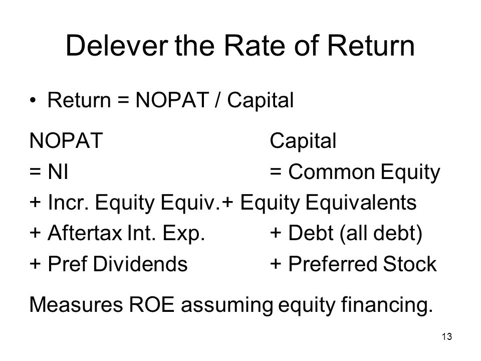 13 Delever the Rate of Return Return = NOPAT / Capital NOPATCapital = NI= Common Equity + Incr.