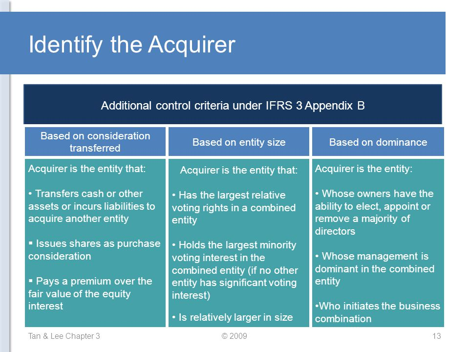 Identify the Acquirer Tan & Lee Chapter 3© 200913 Additional control criteria under IFRS 3 Appendix B Acquirer is the entity that: Transfers cash or o
