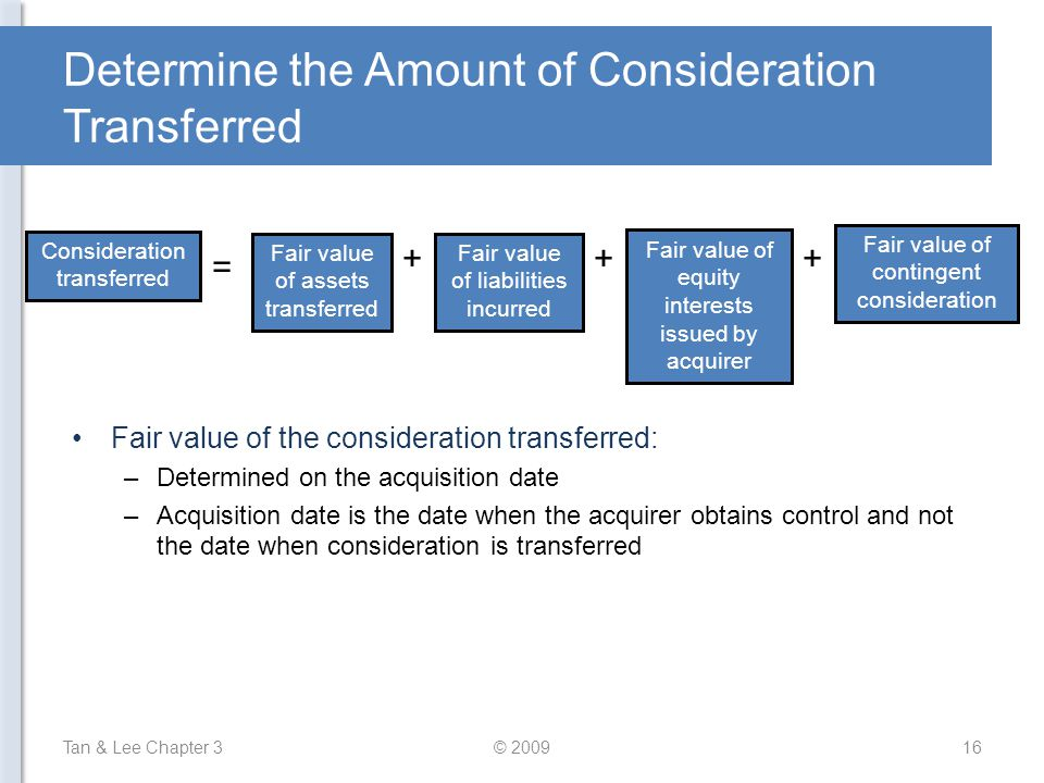Determine the Amount of Consideration Transferred Fair value of the consideration transferred: –Determined on the acquisition date –Acquisition date i