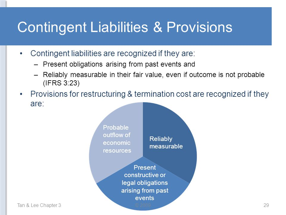 Contingent Liabilities & Provisions Contingent liabilities are recognized if they are: –Present obligations arising from past events and –Reliably mea