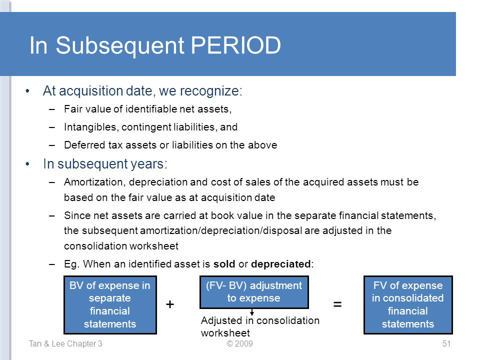 In Subsequent PERIOD Tan & Lee Chapter 3© 200951 At acquisition date, we recognize: –Fair value of identifiable net assets, –Intangibles, contingent l