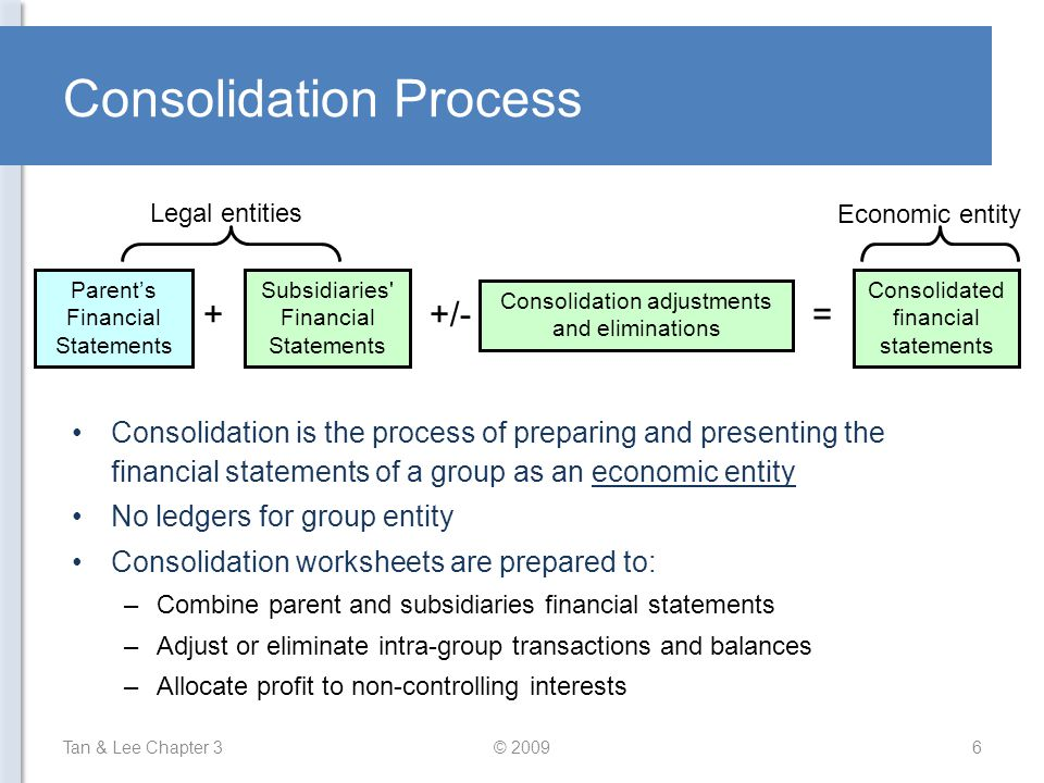 Consolidation Process Consolidation is the process of preparing and presenting the financial statements of a group as an economic entity No ledgers fo