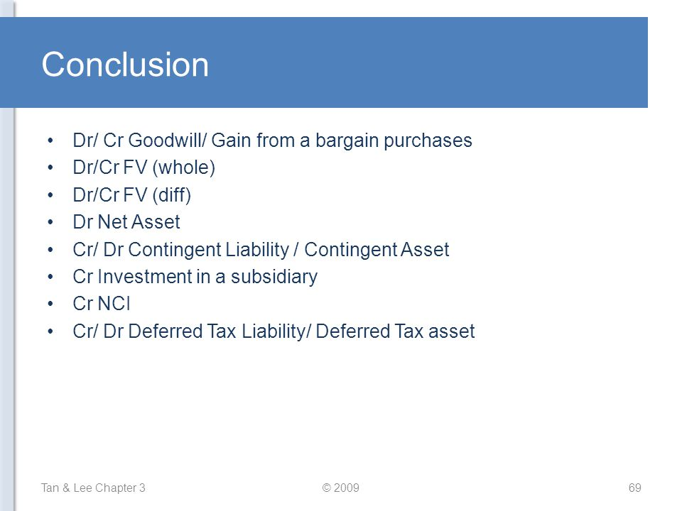 Conclusion Dr/ Cr Goodwill/ Gain from a bargain purchases Dr/Cr FV (whole) Dr/Cr FV (diff) Dr Net Asset Cr/ Dr Contingent Liability / Contingent Asset