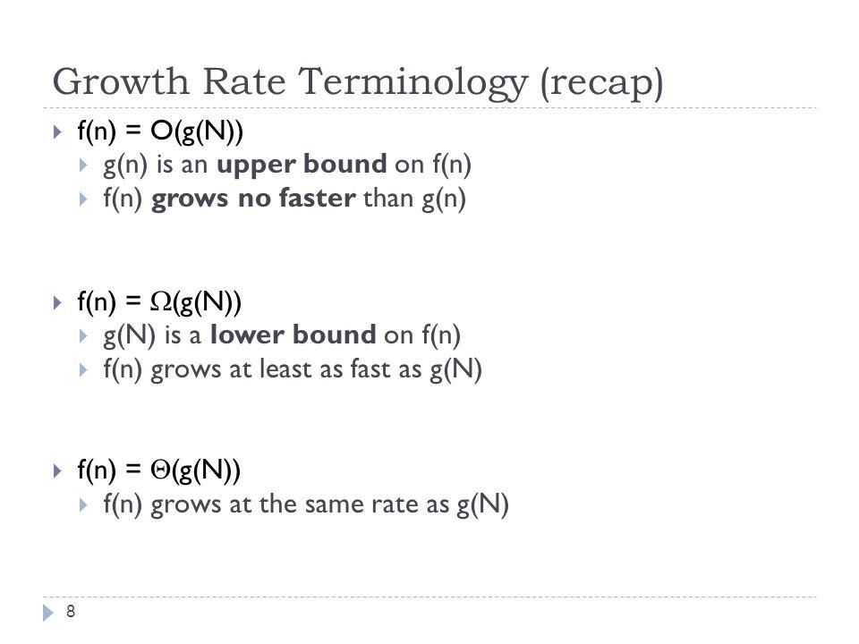 Growth Rate Terminology (recap) 8  f(n) = O(g(N))  g(n) is an upper bound on f(n)  f(n) grows no faster than g(n)  f(n) =  (g(N))  g(N) is a lower bound on f(n)  f(n) grows at least as fast as g(N)  f(n) =  (g(N))  f(n) grows at the same rate as g(N)