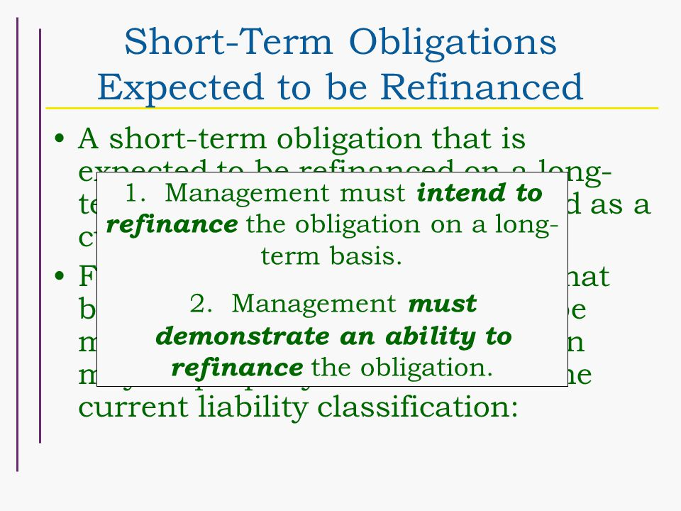 Short-Term Obligations Expected to be Refinanced A short-term obligation that is expected to be refinanced on a long- term basis should not be reporte