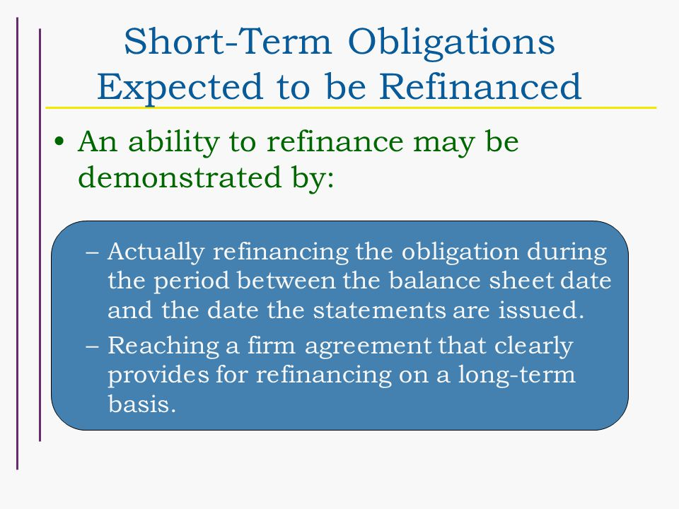 Short-Term Obligations Expected to be Refinanced An ability to refinance may be demonstrated by: –Actually refinancing the obligation during the period between the balance sheet date and the date the statements are issued.