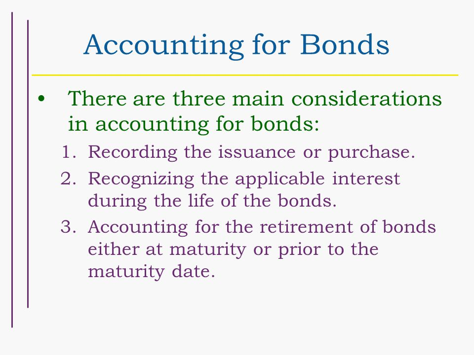 Accounting for Bonds There are three main considerations in accounting for bonds: 1.Recording the issuance or purchase. 2.Recognizing the applicable i