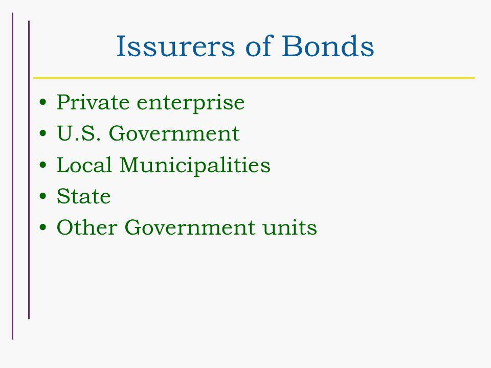 Issurers of Bonds Private enterprise U.S.