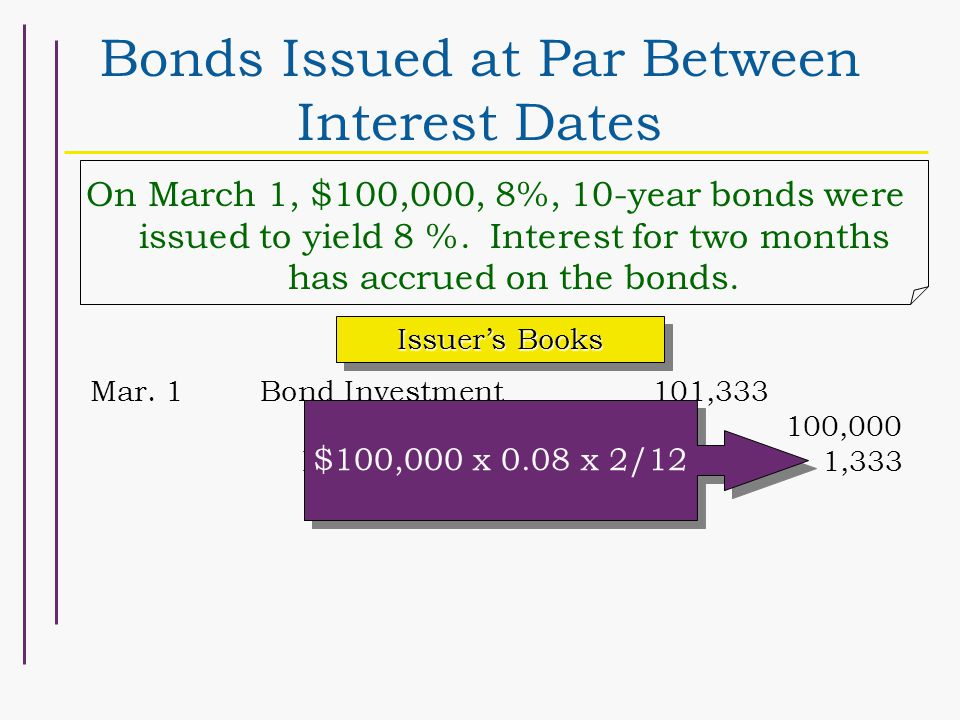 Bonds Issued at Par Between Interest Dates On March 1, $100,000, 8%, 10-year bonds were issued to yield 8 %. Interest for two months has accrued on th