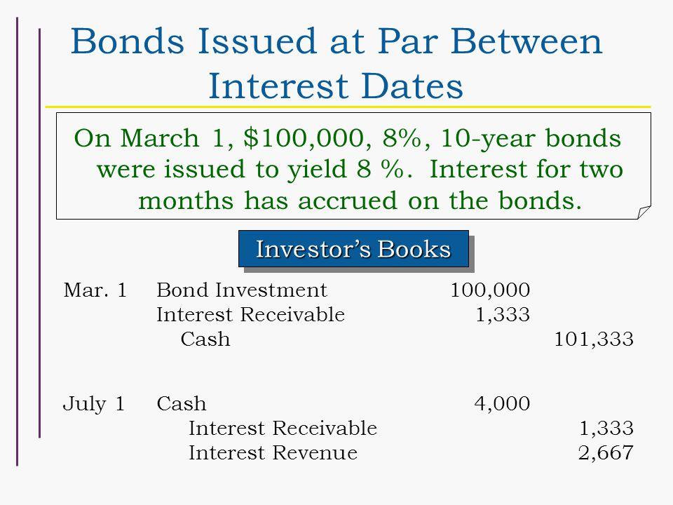 Bonds Issued at Par Between Interest Dates Investor's Books Mar.
