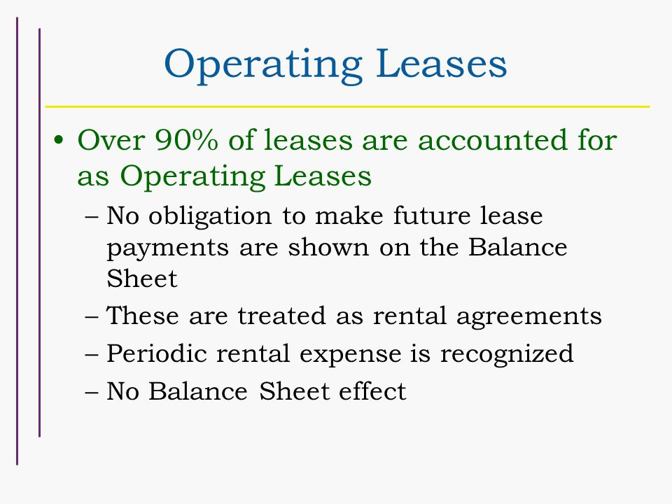 Operating Leases Over 90% of leases are accounted for as Operating Leases –No obligation to make future lease payments are shown on the Balance Sheet