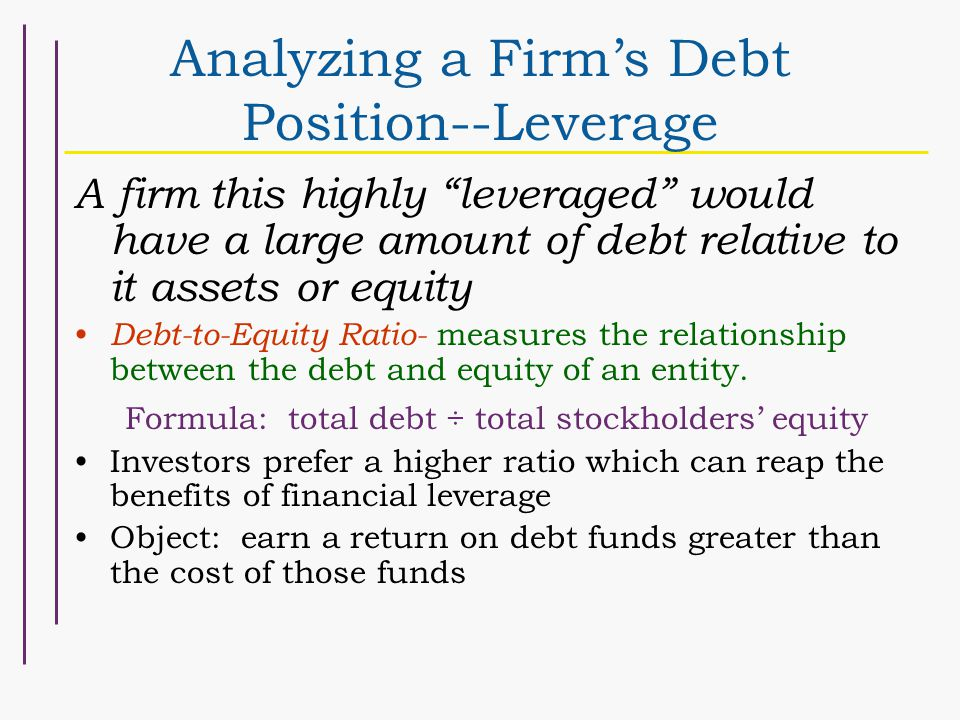 Analyzing a Firm's Debt Position--Leverage A firm this highly leveraged would have a large amount of debt relative to it assets or equity Debt-to-Equity Ratio- measures the relationship between the debt and equity of an entity.