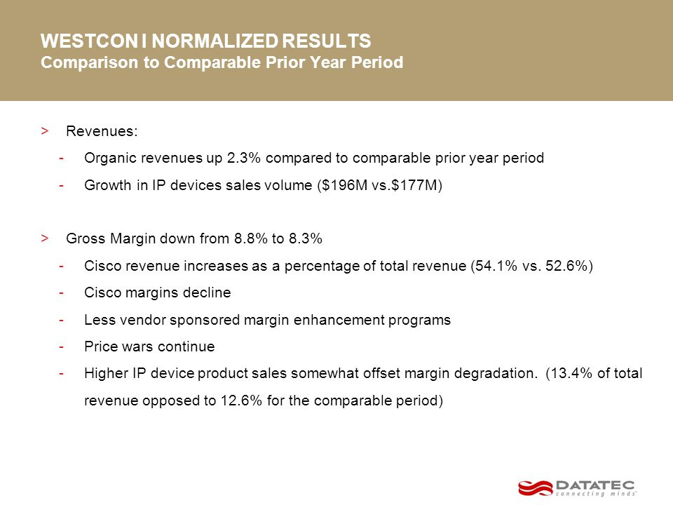 WESTCON I NORMALIZED RESULTS Comparison to Comparable Prior Year Period >Revenues: -Organic revenues up 2.3% compared to comparable prior year period -Growth in IP devices sales volume ($196M vs.$177M) >Gross Margin down from 8.8% to 8.3% -Cisco revenue increases as a percentage of total revenue (54.1% vs.