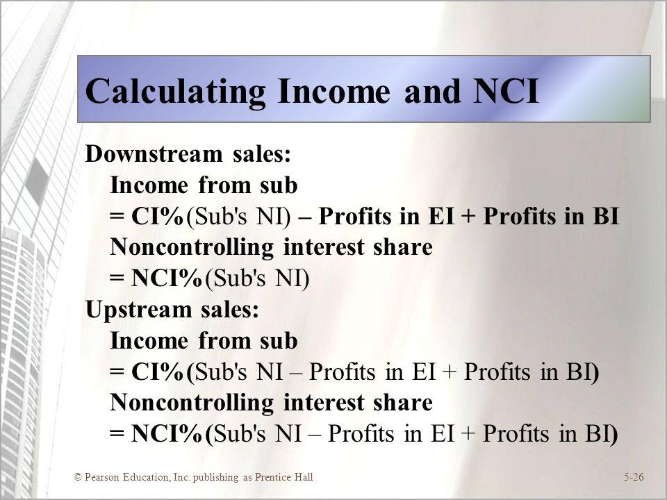 © Pearson Education, Inc. publishing as Prentice Hall5-26 Calculating Income and NCI Downstream sales: Income from sub = CI%(Sub's NI) – Profits in EI