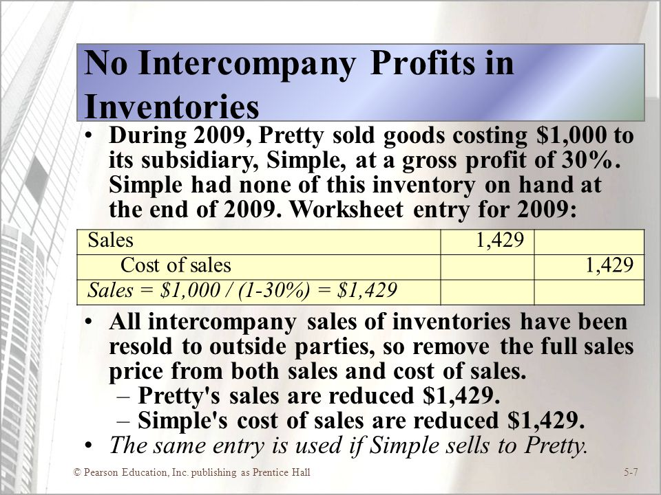 © Pearson Education, Inc. publishing as Prentice Hall5-7 No Intercompany Profits in Inventories During 2009, Pretty sold goods costing $1,000 to its s