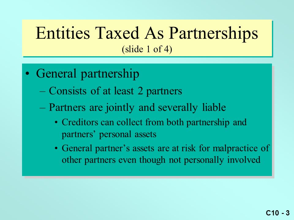 C10 - 54 Basis Example (slide 1 of 2) Pam is a 30% partner in the PDQ partnership Pam's beginning basis is $20,000 PDQ reports current income of $50,000 Pam sells her interest for $35,000 at the end of the year Pam is a 30% partner in the PDQ partnership Pam's beginning basis is $20,000 PDQ reports current income of $50,000 Pam sells her interest for $35,000 at the end of the year
