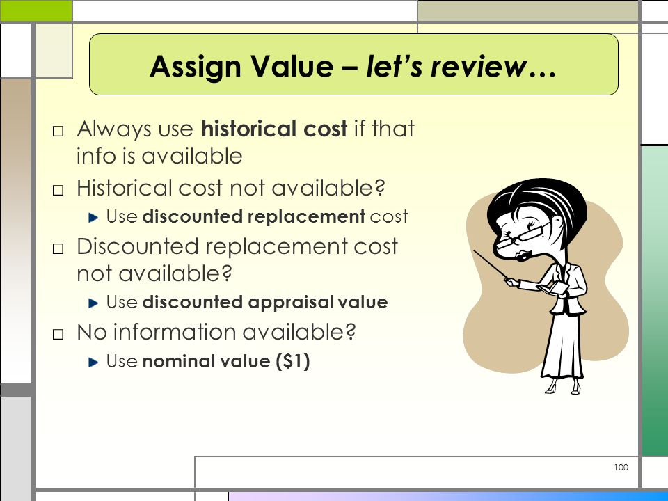 100 □Always use historical cost if that info is available □Historical cost not available? Use discounted replacement cost □Discounted replacement cost