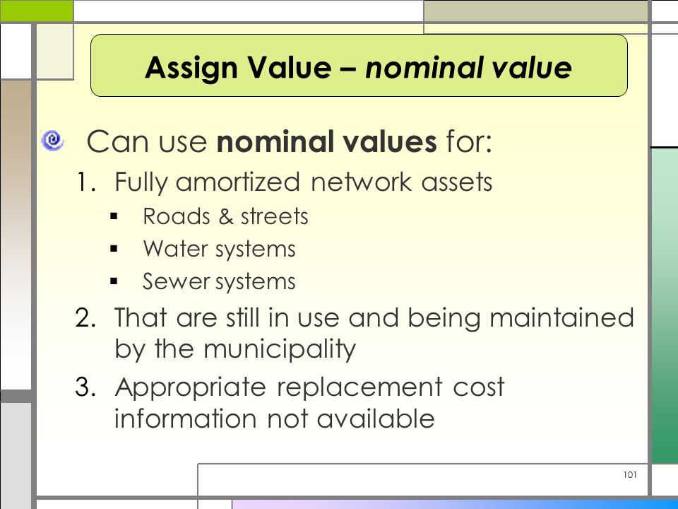 101 Can use nominal values for: 1.Fully amortized network assets  Roads & streets  Water systems  Sewer systems 2.That are still in use and being m