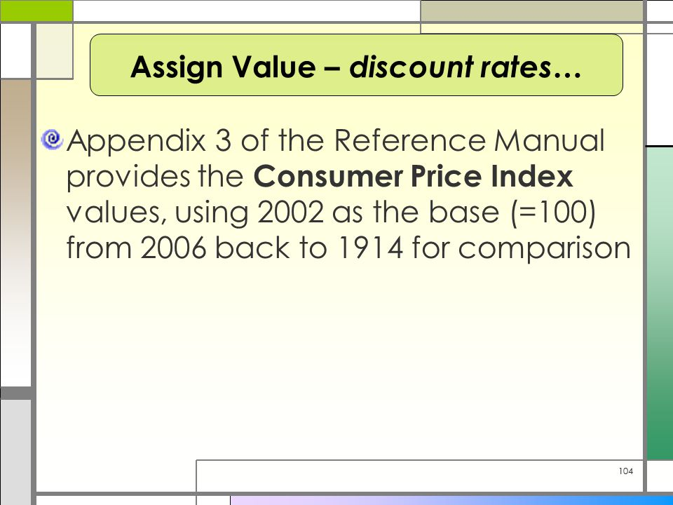 104 Appendix 3 of the Reference Manual provides the Consumer Price Index values, using 2002 as the base (=100) from 2006 back to 1914 for comparison A