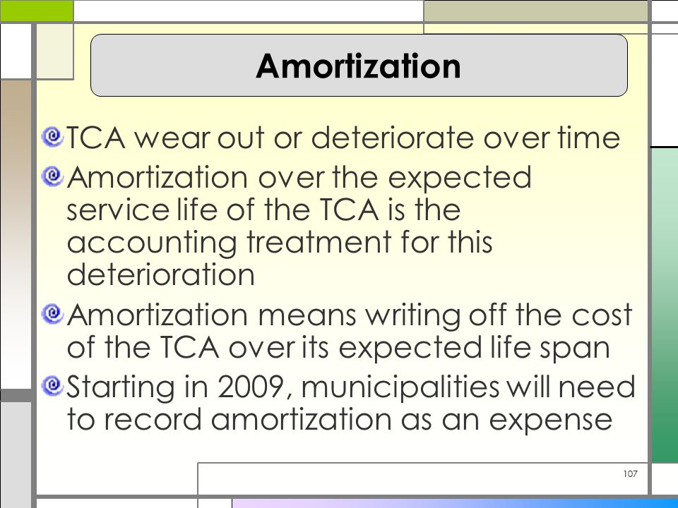 107 TCA wear out or deteriorate over time Amortization over the expected service life of the TCA is the accounting treatment for this deterioration Amortization means writing off the cost of the TCA over its expected life span Starting in 2009, municipalities will need to record amortization as an expense Amortization