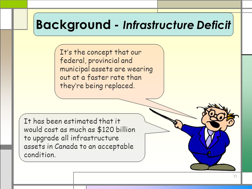 11 It has been estimated that it would cost as much as $120 billion to upgrade all infrastructure assets in Canada to an acceptable condition. It's th