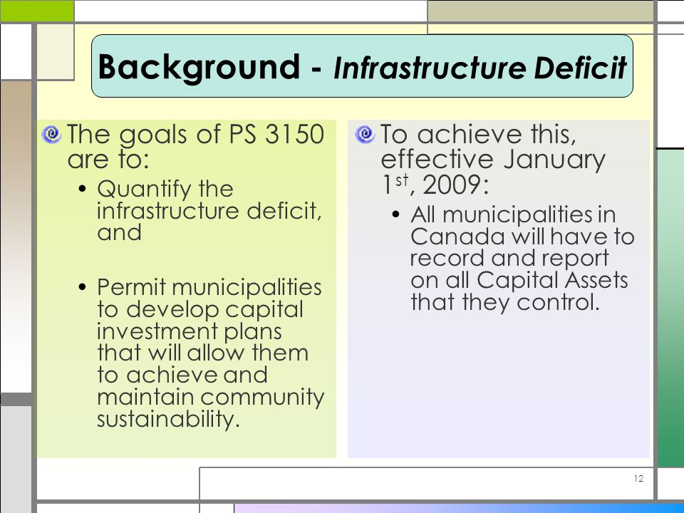 12 The goals of PS 3150 are to: Quantify the infrastructure deficit, and Permit municipalities to develop capital investment plans that will allow them to achieve and maintain community sustainability.