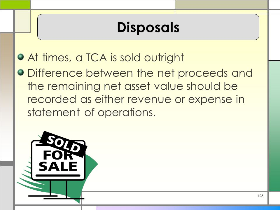 125 At times, a TCA is sold outright Difference between the net proceeds and the remaining net asset value should be recorded as either revenue or expense in statement of operations.