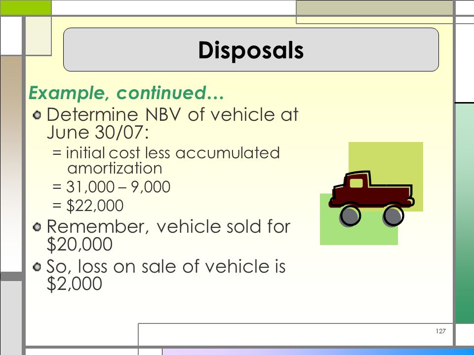 127 Example, continued… Determine NBV of vehicle at June 30/07: = initial cost less accumulated amortization = 31,000 – 9,000 = $22,000 Remember, vehicle sold for $20,000 So, loss on sale of vehicle is $2,000 Disposals
