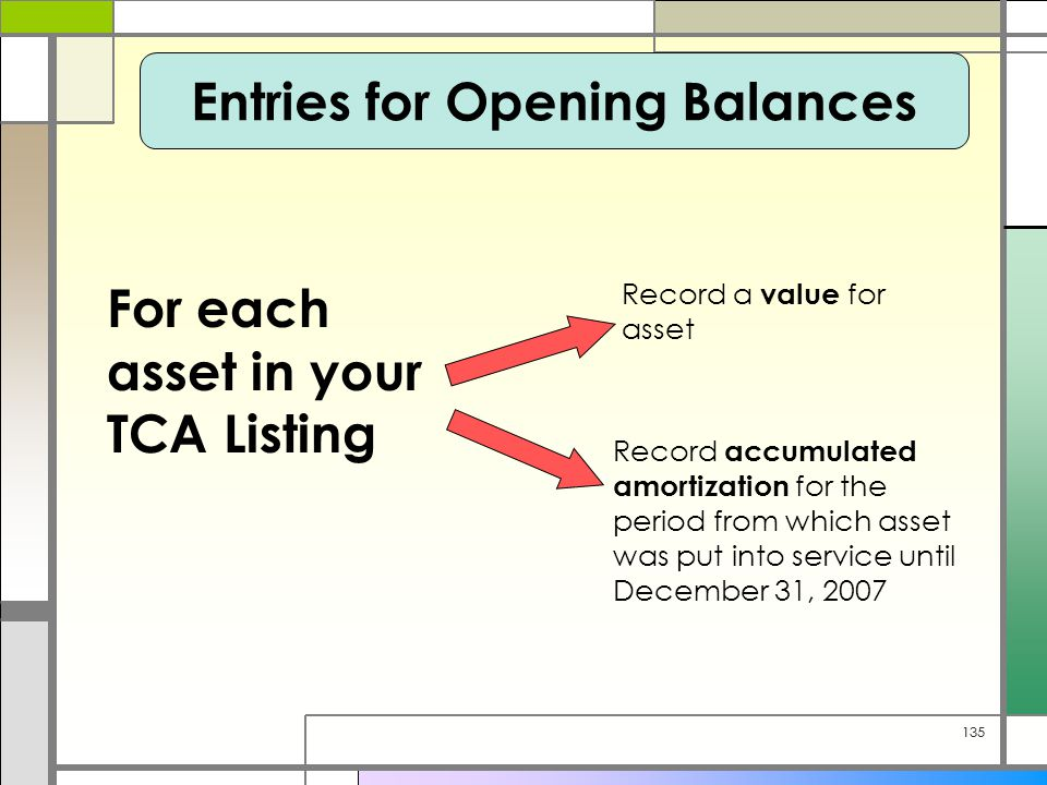 135 Entries for Opening Balances For each asset in your TCA Listing Record a value for asset Record accumulated amortization for the period from which asset was put into service until December 31, 2007