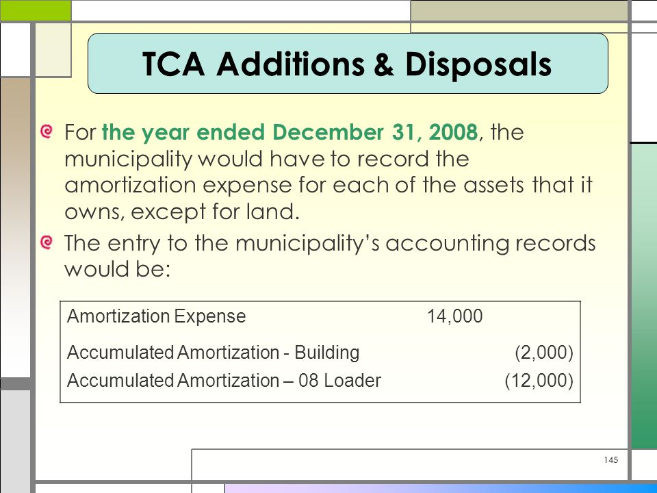 145 For the year ended December 31, 2008, the municipality would have to record the amortization expense for each of the assets that it owns, except for land.