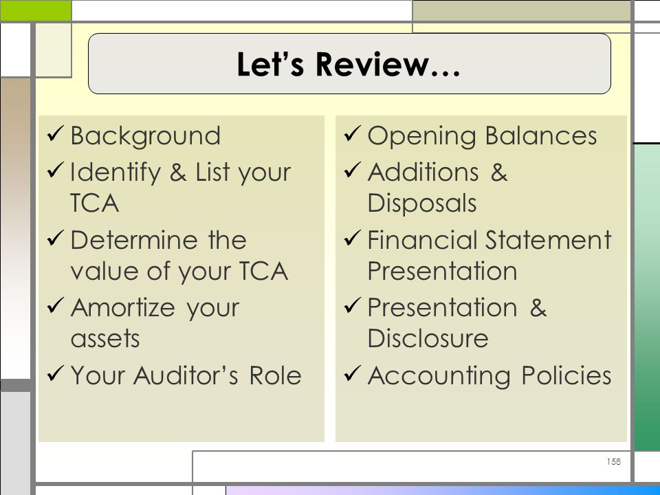 158 Background Identify & List your TCA Determine the value of your TCA Amortize your assets Your Auditor's Role Opening Balances Additions & Disposals Financial Statement Presentation Presentation & Disclosure Accounting Policies Let's Review…