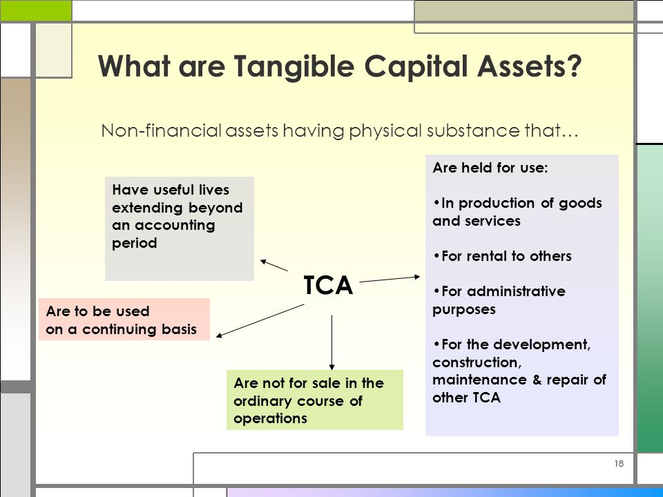 18 What are Tangible Capital Assets? Non-financial assets having physical substance that… TCA Are held for use: In production of goods and services Fo