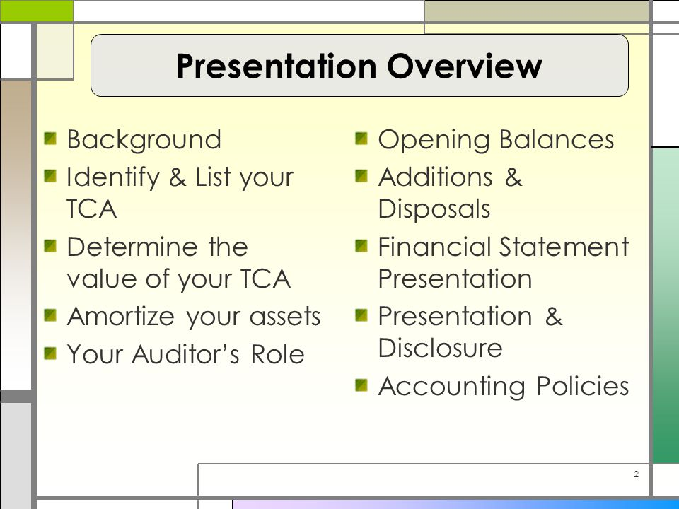 2 Background Identify & List your TCA Determine the value of your TCA Amortize your assets Your Auditor's Role Opening Balances Additions & Disposals