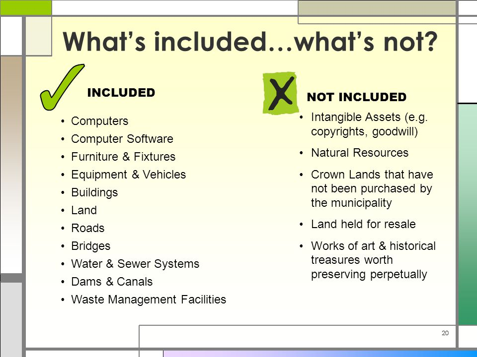 20 What's included…what's not? Computers Computer Software Furniture & Fixtures Equipment & Vehicles Buildings Land Roads Bridges Water & Sewer System