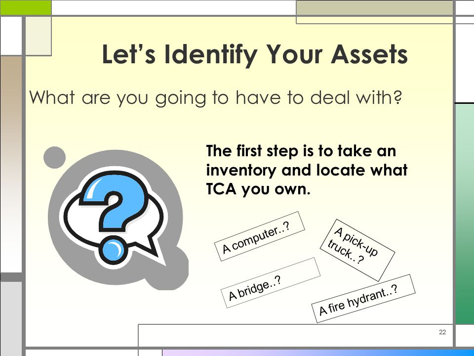 22 Let's Identify Your Assets What are you going to have to deal with.