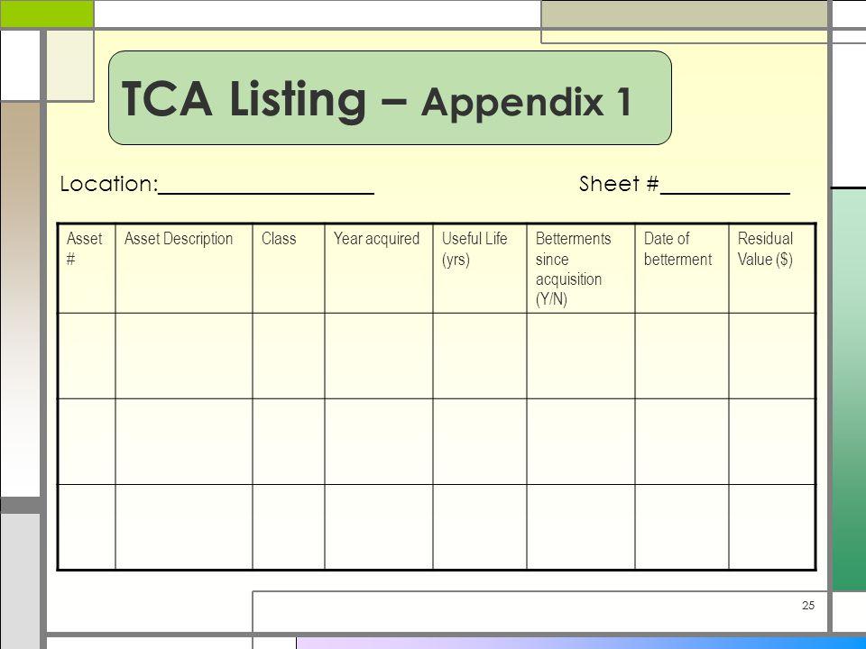 25 Asset # Asset DescriptionClassYear acquiredUseful Life (yrs) Betterments since acquisition (Y/N) Date of betterment Residual Value ($) Location:____________________Sheet #____________ TCA Listing – Appendix 1