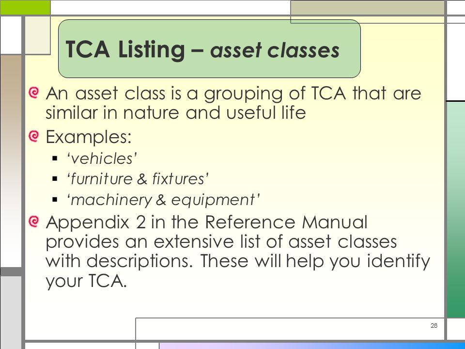 28 An asset class is a grouping of TCA that are similar in nature and useful life Examples:  'vehicles'  'furniture & fixtures'  'machinery & equipment' Appendix 2 in the Reference Manual provides an extensive list of asset classes with descriptions.