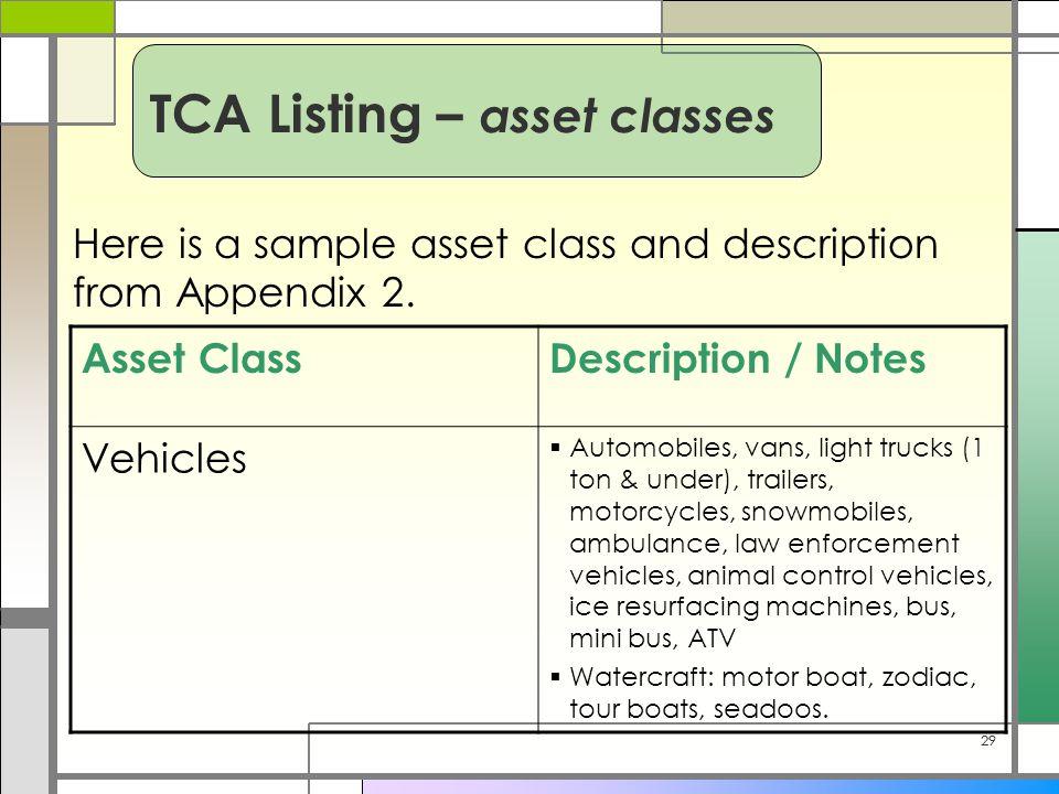 29 Here is a sample asset class and description from Appendix 2. Asset ClassDescription / Notes Vehicles  Automobiles, vans, light trucks (1 ton & un