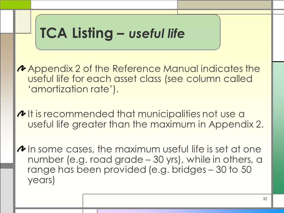 32 Appendix 2 of the Reference Manual indicates the useful life for each asset class (see column called 'amortization rate').