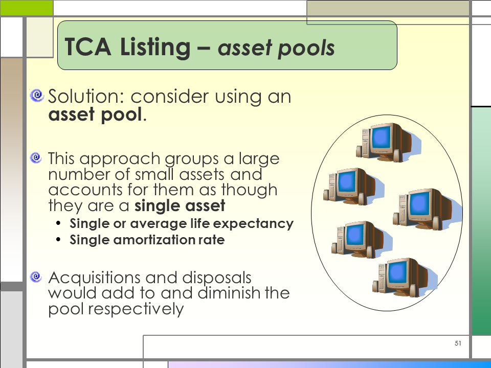 51 Solution: consider using an asset pool. This approach groups a large number of small assets and accounts for them as though they are a single asset