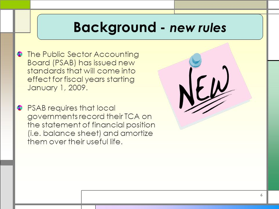 66 The Public Sector Accounting Board (PSAB) has issued new standards that will come into effect for fiscal years starting January 1, 2009. PSAB requi