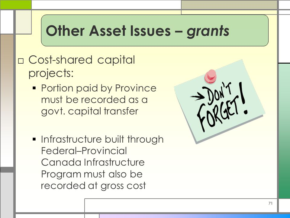 71 □Cost-shared capital projects:  Portion paid by Province must be recorded as a govt. capital transfer  Infrastructure built through Federal–Provi